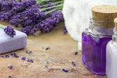 Spa cosmetic and wellness products of lavender — Stock Photo