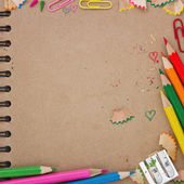 Back to school background with brown notebook — Stock Photo