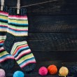 Pair of colorful striped woolen socks — Stock Photo