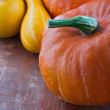 Orange and yellow halloween pumpkins — Stock Photo