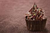 Chocolate cupcake on dark background — Foto de Stock