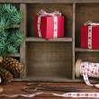 Stock Photo: Christmas setting with empty shelf for copy space