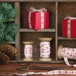 Christmas setting with red Xmas presents — Stock Photo