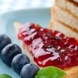 Slices of toast with blueberry jam — Stock Photo