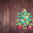 Buttons as decorative Christmas tree — Stock Photo