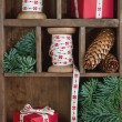Xmas setting with red Christmas presents — Stockfoto