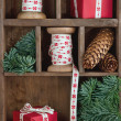 Xmas setting with red Christmas presents — Stock fotografie
