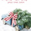 Blue toy truck carrying a Christmas tree on white background — Stock Photo