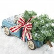 Old blue toy truck carrying a green Christmas tree — Stock Photo