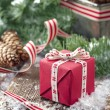Xmas present in a decorative Christmas setting — Stockfoto