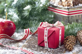 Pine cones, Xmas present and spruce tree branches — Stock Photo