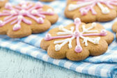 Christmas gingerbread cookies with frosting — Stock Photo