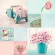 Pink and light blue tone collage — Stock Photo #40266853