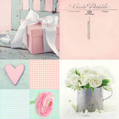 Collage of flowers and presents — Stock Photo