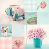Pink and light blue tone collage — 图库照片