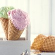 Ice cream cones with an old metal scoop — Stock Photo