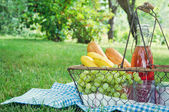 Vintage picnic basket with fruit — Stock Photo