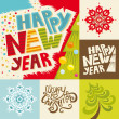 Happy New Year lettering Greeting Card — Stock Vector