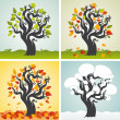 Four seasons set with tree — Stock Vector