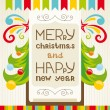 Merry Christmas lettering greeting card — Stock Vector