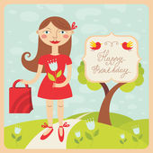 Birthday card with girl — Stock Vector