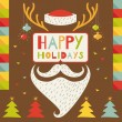 Merry Christmas greeting card in hipster style — Stock Vector