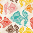 Seamless pattern with colored fishes. — Stock Vector