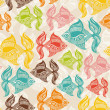 Seamless pattern with colored fishes — Stock Vector