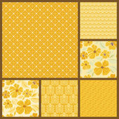 Set of six gold seamless patterns — Stock Vector