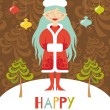 Cute greeting card. Christmas girl with blue hair — Stock Vector