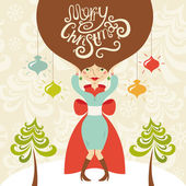 Merry Christmas greeting card with beautiful lady — Stock Vector