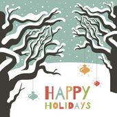 Winter happy holidays greeting card. — Stock Vector