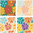 Vector set: seamless colored floral patterns — Stock Vector