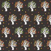 Seamless retro tree pattern with forest — Stock Vector