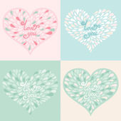 Vector set. Valentine hearts with text love you — Stock Vector