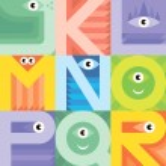 Monster font J K L M N O P Q R — Stock Vector