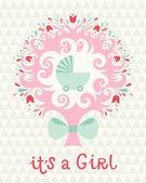 Birthday card for girl — Stock Vector