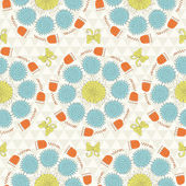 Seamless sunshine pattern with flowers — Stockvektor