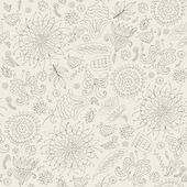 Monochrome seamless pattern with flowers — Cтоковый вектор