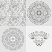 Vector set: ornamental round background, seamless pattern — Stock Vector