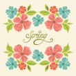 Spring vintage card with flowers — Stock Vector