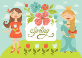 Spring girls with flowers. Greeting card — Stock Vector