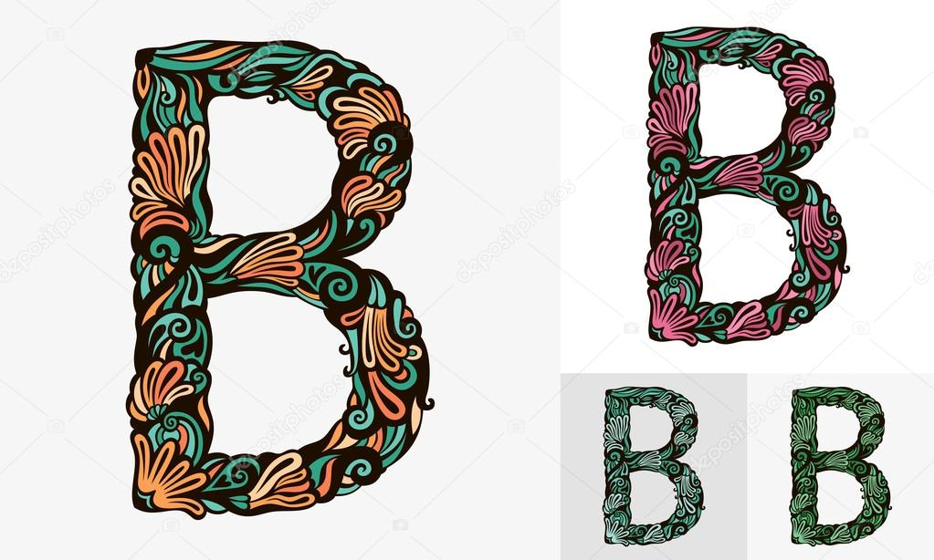 Colored Floral Fonts Colored Floral Font