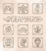 Doodle icons. Steampunk theme — Stock Vector