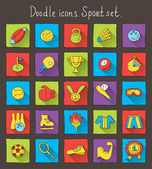 Colored doodle icons with shadow. Sport set — Stock Vector