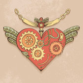 Colored steampunk heart — Stock Vector