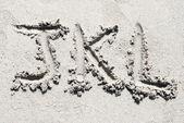Alfabeto di spiaggia di sabbia: lettere j, k e l — Foto Stock