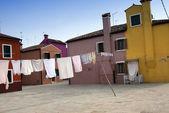 Burano square - Venice — Stock Photo