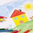 Child drawing with pencils — Stock Photo