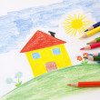 Child drawing with pencils — Stock Photo #14407679